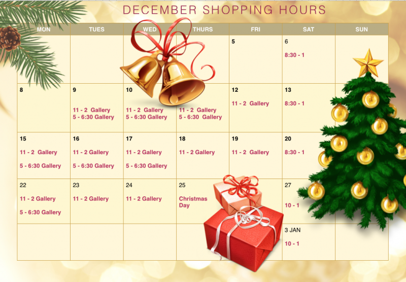 Pure Fiji Christmas Shop - December Opening Hours
